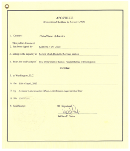 All that work, and this is your prize! A lovely piece of certifying that the person from the FBI who signed your background check, is in fact a government official with the authority to do so.