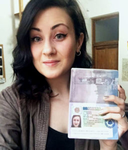 Meagan with her self-employment visa