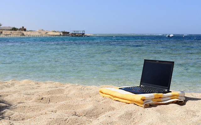 Working in Spain on the beach